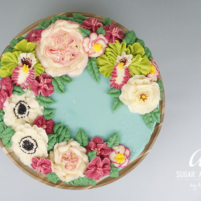 """welcome Spring"" - Wreath In Blue on Cake Central"