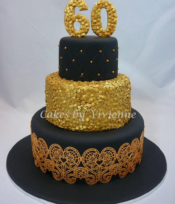 Black & Gold 60Th Birthday Cake