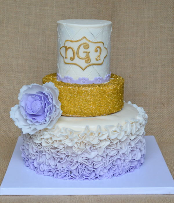 Lavendar And Gold Ruffle Cake