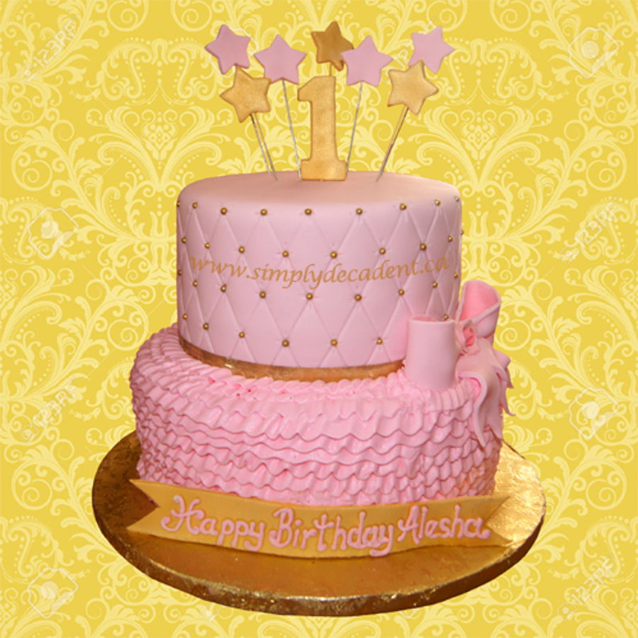2 Tier 1st Birthday Cake Cake With Pink Buttercream Ruffles