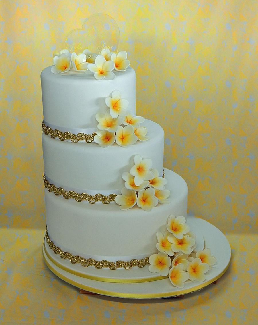 3 Tier Off Set Frangipani Wedding Cake On Central