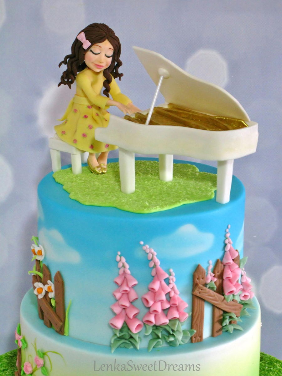 A Garden Cake For A Little Pianist Girl Cakecentral Com