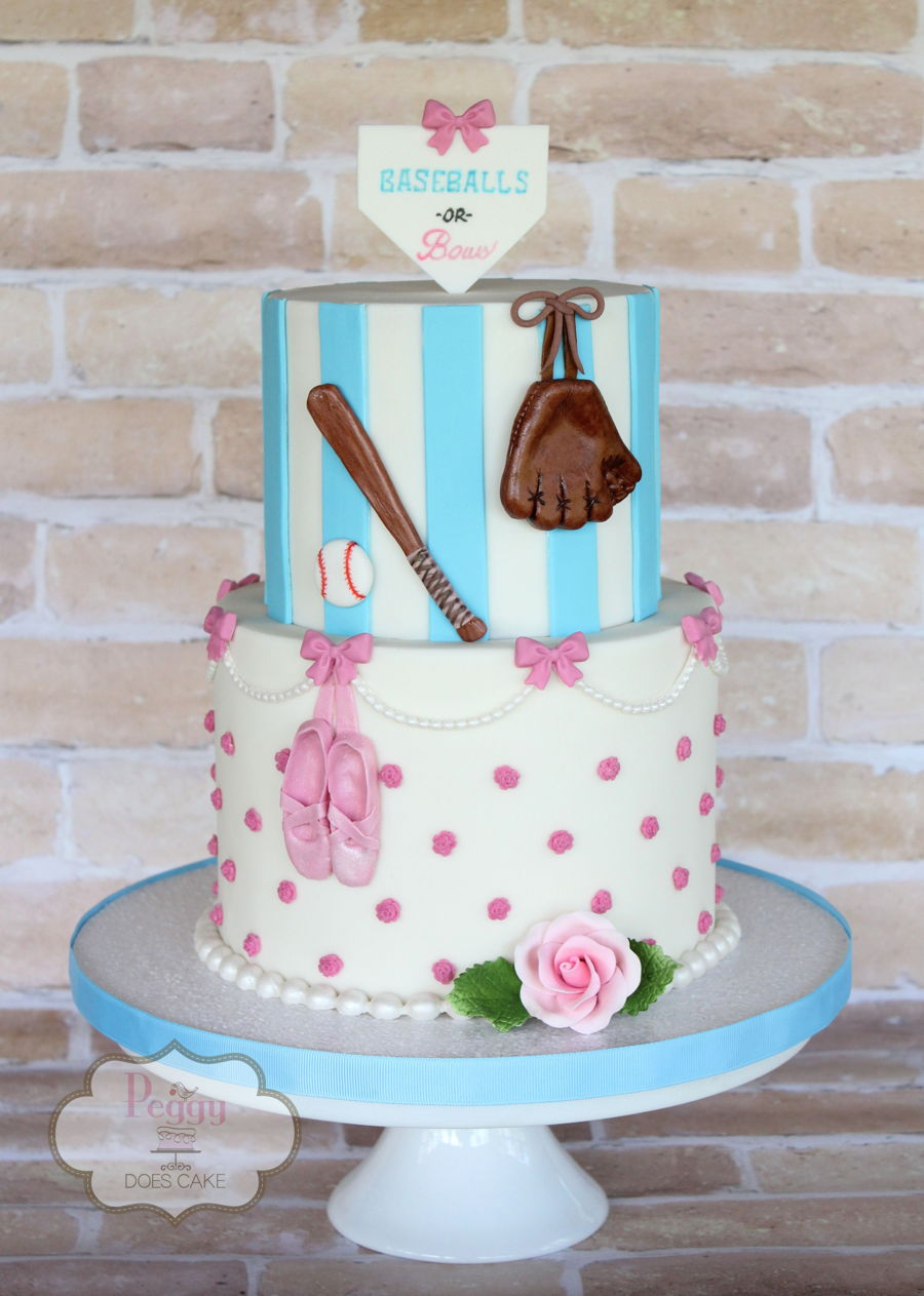 Baseballs Or Bows Gender Reveal Cake Cakecentral Com