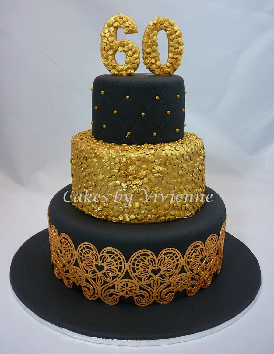 Birthday Cake Images Gold : Black & Gold 60Th Birthday Cake - CakeCentral.com