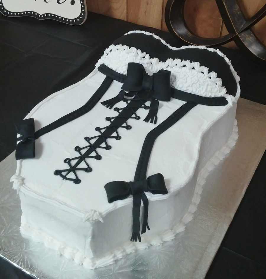 corset cake bridal shower on cake central black and white