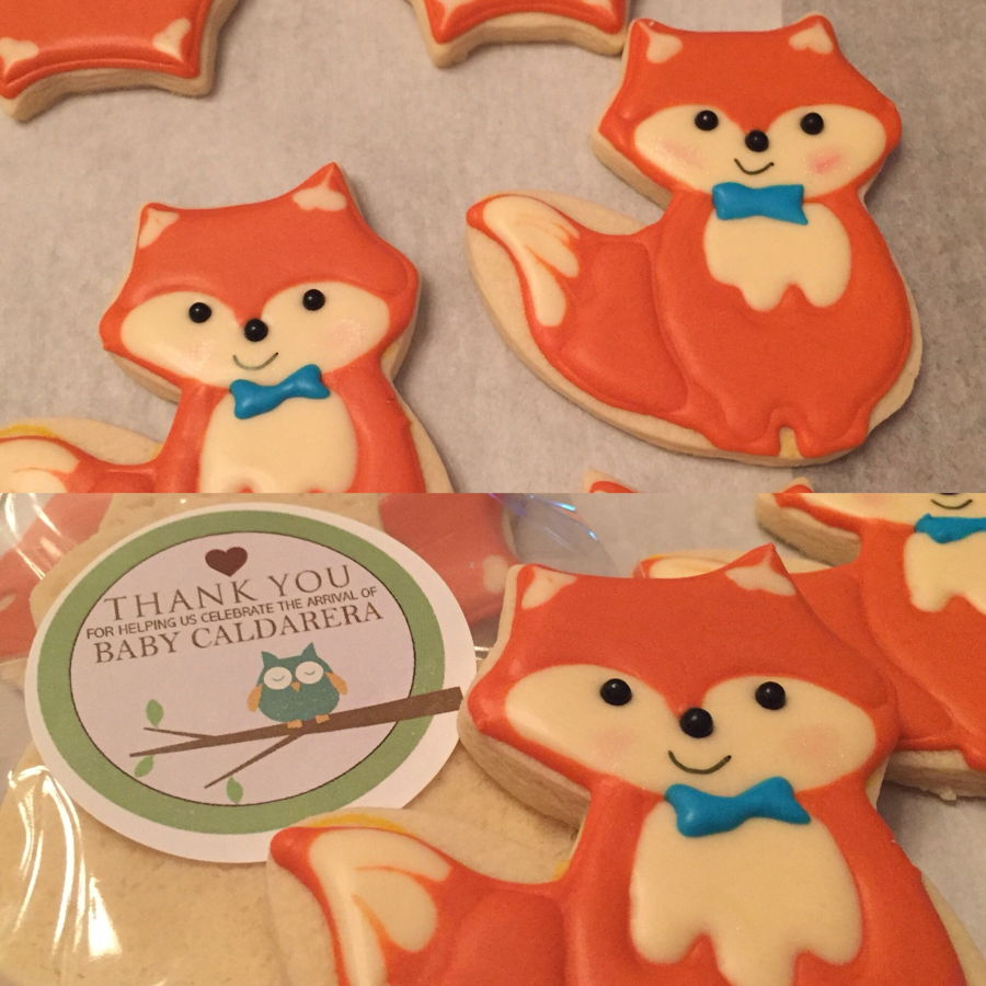 fox baby shower cookies