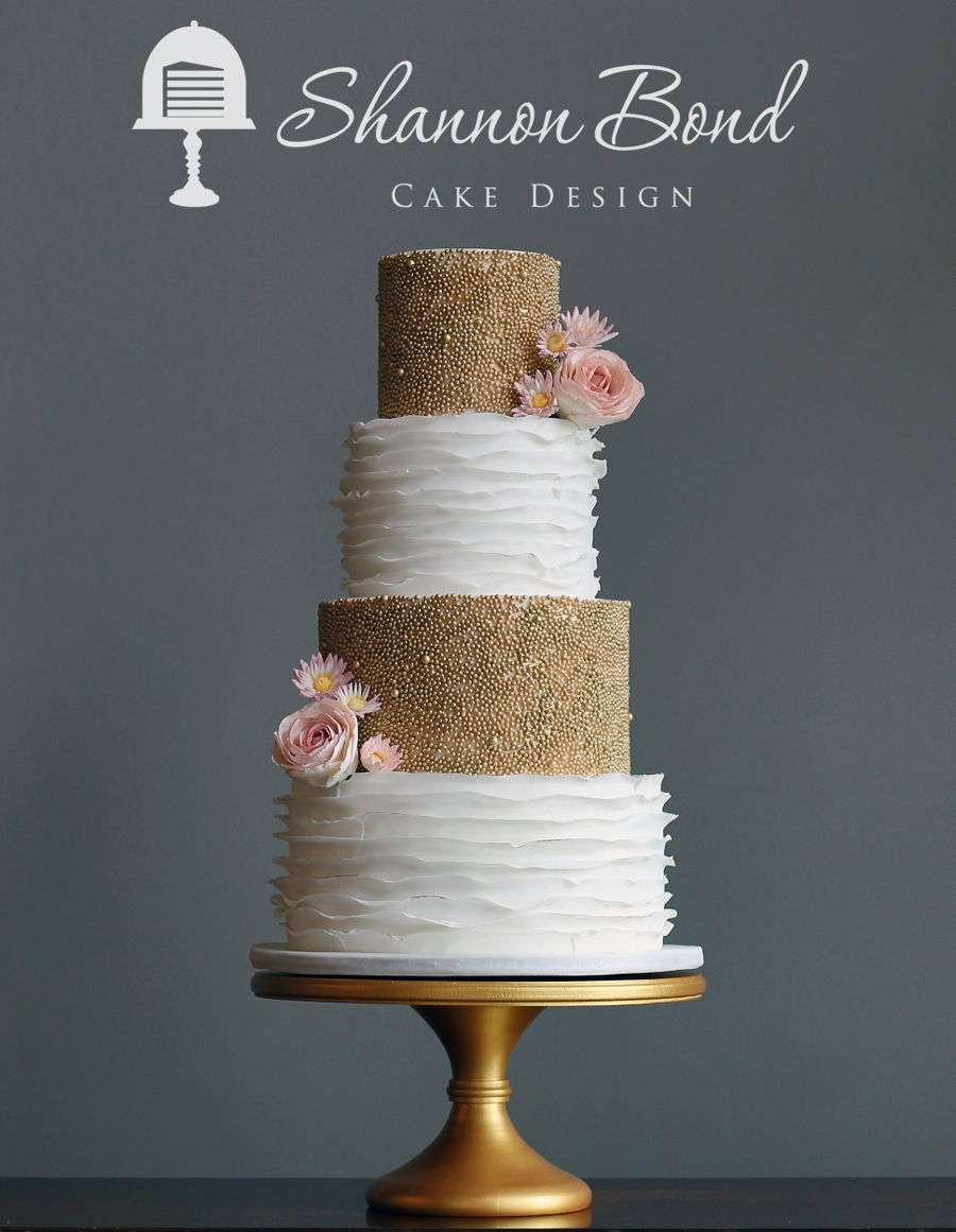 Gold Pearl Wedding Cake - CakeCentral.com