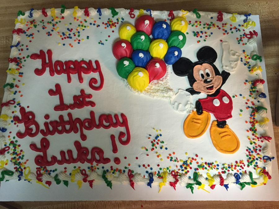 Astounding Mickey Mouse First Birthday Sheet Cake Cakecentral Com Funny Birthday Cards Online Alyptdamsfinfo