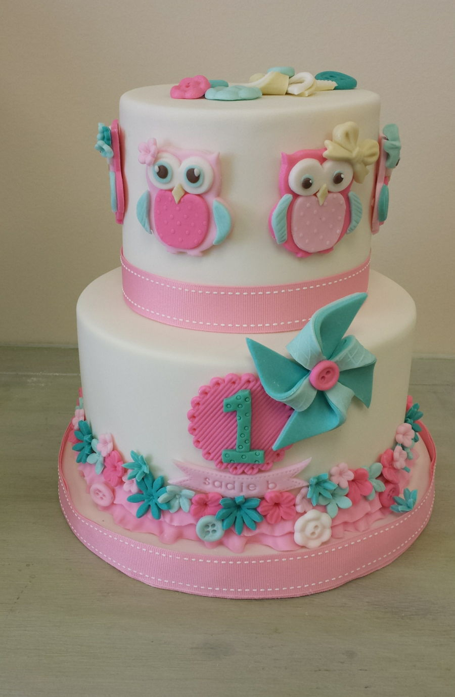 Owl Themed Birthday Cake CakeCentralcom