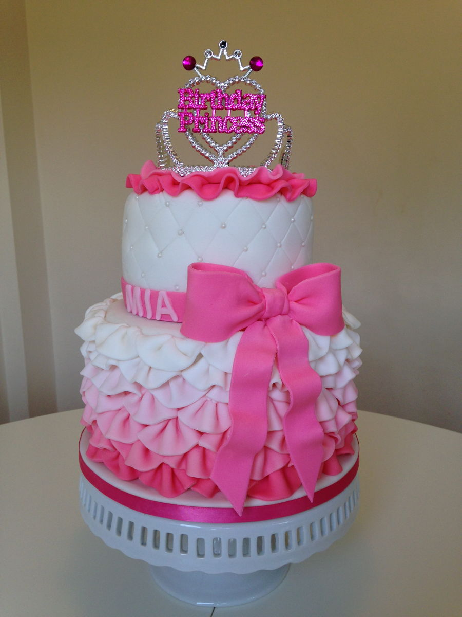 Pink Frilly Birthday Princess Cake Cakecentral Com