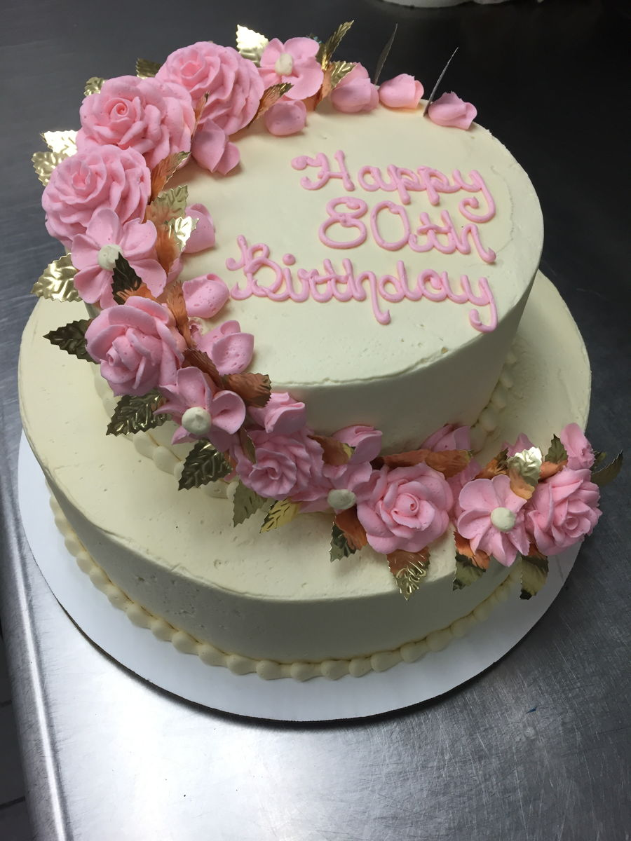 Images Of Birthday Cake And Roses : Pink Rose Stacked Birthday Cake - CakeCentral.com