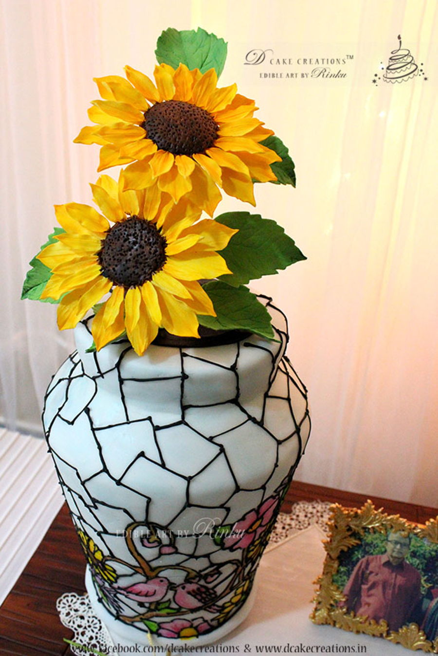 Stained glass flower vase cake cakecentral the flower vase cake with the stain glass finish stands at 11 and is accompanied with sugar sunflowers the cake is placed on a hand painted wooden grain reviewsmspy