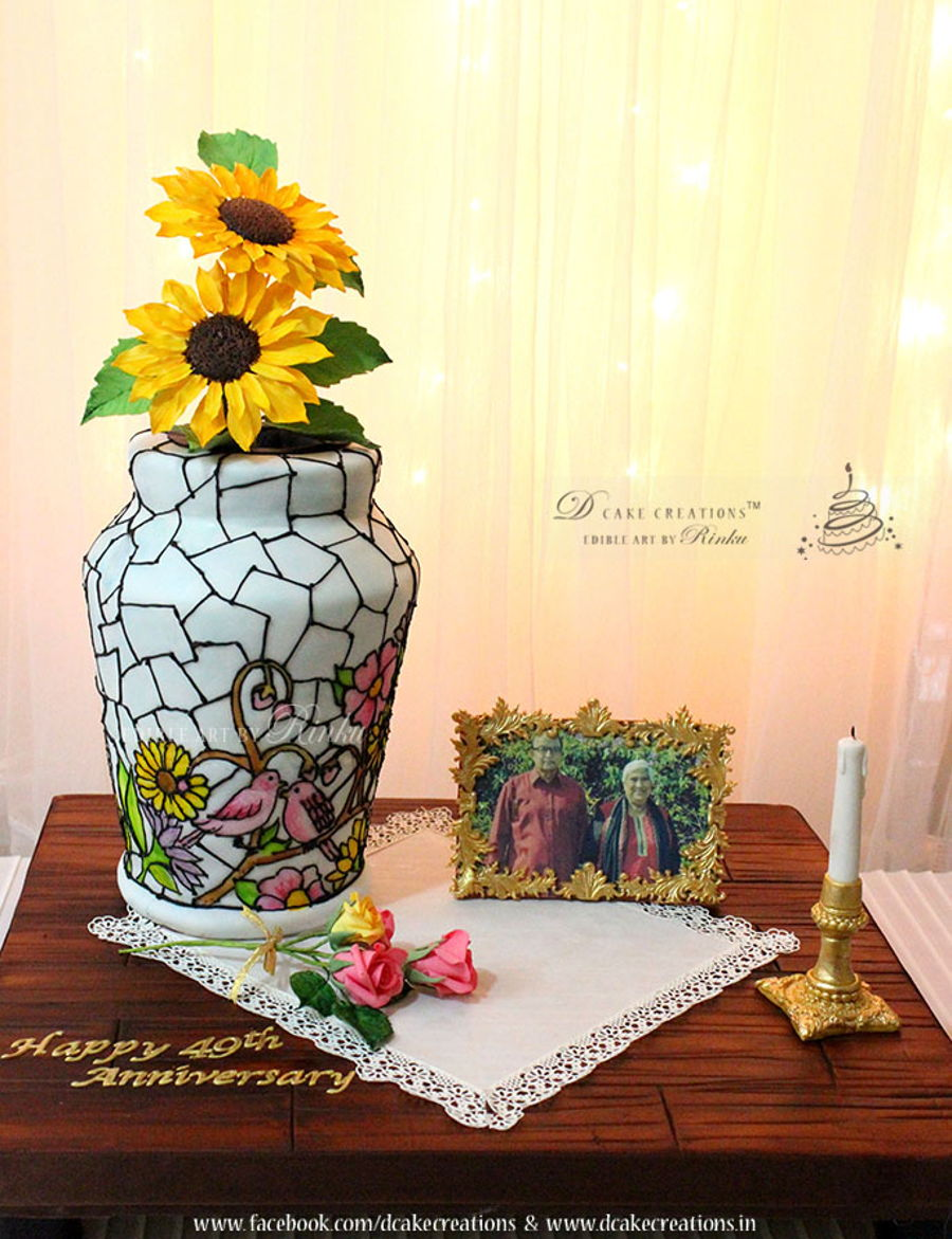 Stained Glass Flower Vase Cake - CakeCentral.com