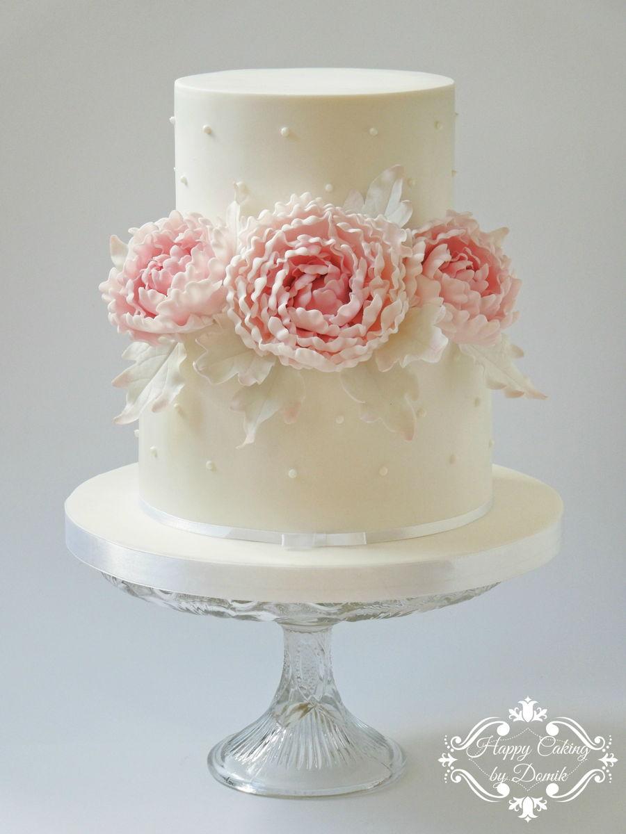 White Peony Wedding Cakes
