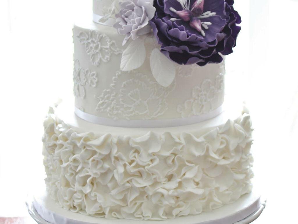 White Wedding Cake With Purple Flower