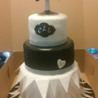 "3 Tier Black And White Affair Themed Cake With Martini Glass, Pearls And Bow-Tie Topper  3 Tier Black and White Affair themed Cake with Martini Glass, Pearls and Bow-tie topper6"" Top Tier: Pineapple Cake8"" Middle Tier..."
