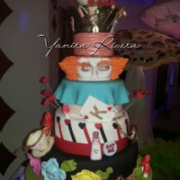 Alice Sweet Fifteen Cake for my lovely niece! Alice in Wonderland Sweet fifteen. All decorating pieces made in gumpaste!