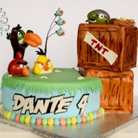 Angry Birds Cake All characters were handmade using MMF. Main base and crates are cake.