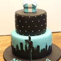 Audrey Hepburn Birthday Cake This cake was made for a young woman who loves New York, Audrey Hepburn, and Tiffany's.