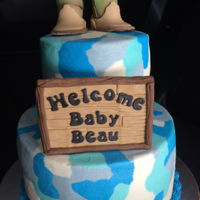 Baby Boots Baby blue buttercream camouflage with a pair of hunting boots made of fondant.