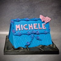 Birthday Card Cake pink and blue birthday card chocolate fudge cake