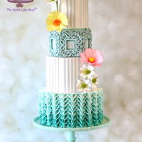 Blue Ombré With V-Petal Ruffles Made this for the latest Colour Boom issue of Cake Masters Magazine (May 2016) as part of their Ombré Cake Collection. I was...