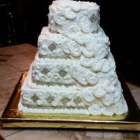 Bridal Show Wedding Cake   Four Tier Cake w/ Cascading Buttercream Flowers