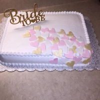 Bridal Shower Cake With Fondant Hearts. This is an all buttercream cake with fondant cutout hearts. The bride to be wanted a simple cake. There are a few things that I would'...
