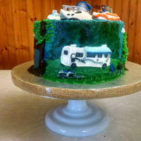 Camping And Boating With Cyndi 2016 Peanut Butter & Jelly Cake (Peanut Butter Cake with Raspberry Jam filling) decorated with Peanut Butter Buttercream and modeling...