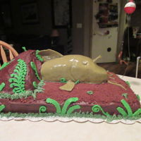 Catfish Chocolate cake with Chocolate frosting. Catfish and Cave is made out of Rice Krispy treats. The Catfish in covered in modeling chocolate...