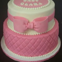 Clara Baby Shower Pink and white baby shower cake