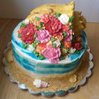 Conch Shell Cake I made this last year for my mom's birthday, she loves the ocean and she loves flowers. I tried to combine the 2 ideas into one cake :...