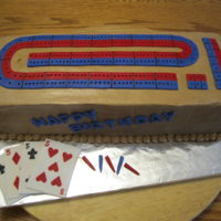 Cribbage Board Chocolate fudge cake with a chocolate fudge filling, made for a man who loves to play crib. Red and blue details are fondant. Cards are...