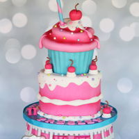 Cupcake Cake Giant cupcake cake in the style of Andrea's Sweetcakes (and admittedly not a patch on hers!).