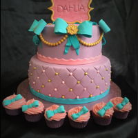 Dahlia's Christening Cake with matching cupcakes
