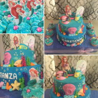 Disney Mermaid Cake And Cupcakes 2 levels10¨dummy cake8¨coffee lovers with kahlua buttercream.buttercream and 3D fondant Ariel and flounderStrawberry oreo...
