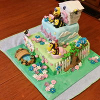 "Disney's ""the Hive"" Birthday Cake Birthday cake for 3 year old grand daughter. Banana cake with gum paste figurines. Wings and Pappa bee's glasses made from gelatine..."