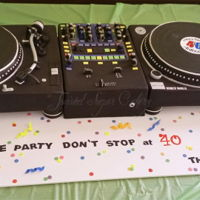 D.j. Turntables This is a life-size DJ deck. It is entirely edible. It certainly was a labor of love. A lot of work went into this cake.