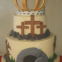 Easter Cake i made this cake for easter at church. this cake reprisents the true story of easter Praise The Lord!!