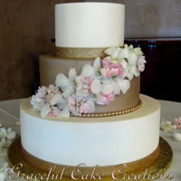 Elegant Ivory And Gold Wedding Cake Elegant Ivory and Gold Butter Cream Wedding Cake with White and Pink Orchids