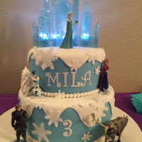 Elsa Castle Birthday Cake My granddaughter asked for an Elsa cake with lights. She loved it :)