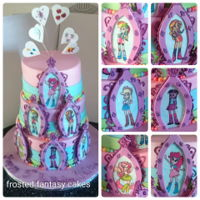 Equestria Girls Birthday Cake A 3 tier birthday cake with equestria girls hand painted on each gumpaste frame