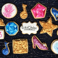 Eurovision Cookies! Buttery cookies covered in royal icing and decorated with edible sequins, and hand-painted feathers and rhinestones. How better to...