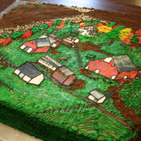 Family Farm Retirement Party Cake I was given old photographs of the family farm and asked to make a cake for a lifelong farmer who was retiring. Buildings are made of...