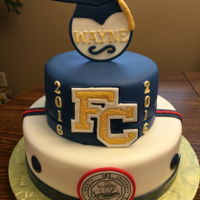 Fcs Graduation   Two tier with gumpaste athletic letter