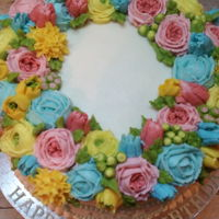 Floral Birthday A pastel floral birthday cake for a sweet lady's 97th birthday.All buttercream decorations