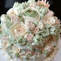 Floral Cake   WHIPPED FROSTING & BUTTERCREAM FLOWERS ON A MARBLE CAKE
