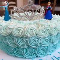 Frozen Princess Rosette Cake A frozen themed princess cake with blue ombre rosettes for a 3rd Birthday.