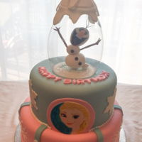 Frozen Snow Globe Cake Frozen is still a very popular birthday theme. Hand painted image and hand crafted fondant figure.