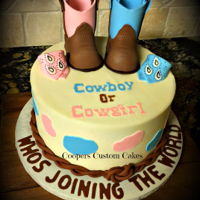 Gender Reveal Cowboy-Cowgirl Cowboy or cowgirl boot gender reveal cake